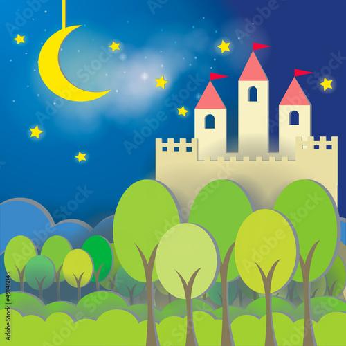 Poster Castle Fantasy Castle cardboard card in midnight background