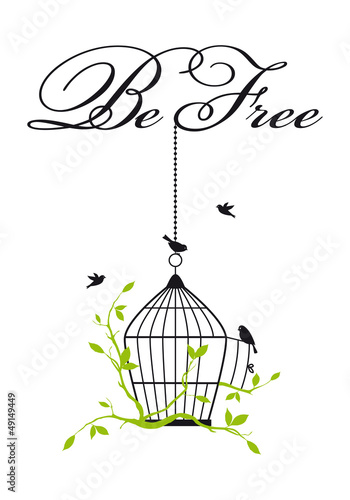 Poster Vogels in kooien open birdcage with free birds, vector