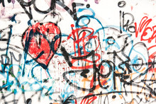 Painted Wall With Graffiti By Frustrated Vandal