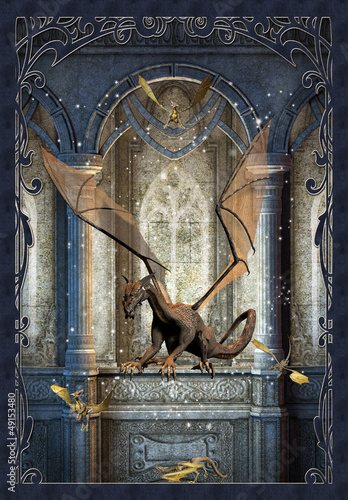 La pose en embrasure Dragons Fantasy Scene With Dragons - Computer Artwork