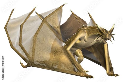 Fotobehang Draken Crawling Yellow Dragon - Computer Artwork