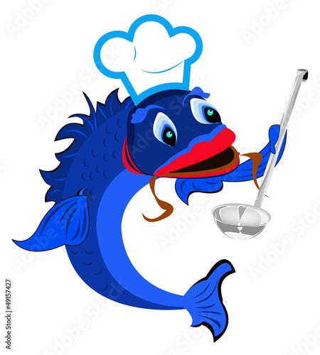 Aluminium Prints Pirates Fresh fish Chef with big spoon.Vector