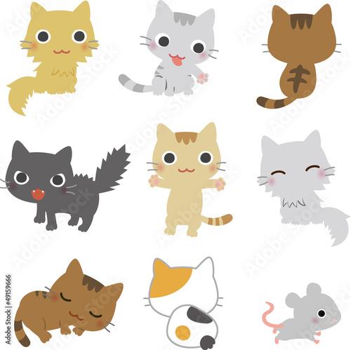 8匹の猫と鼠 Wallpaper Mural