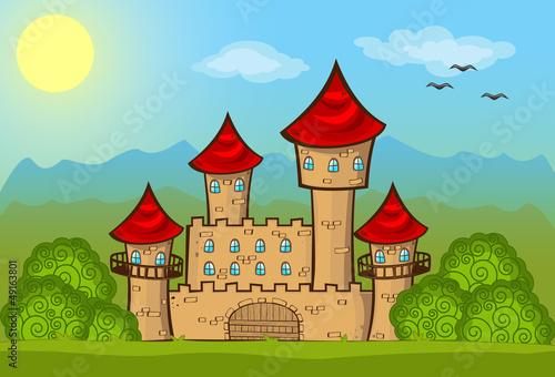 Poster Oiseaux, Abeilles Fairy tale castle