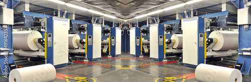 Poster Industrial geb. Druckmaschinen mit Papierrollen // printing press