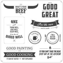 Set Of Restaurant Menu Typographic Design Elements