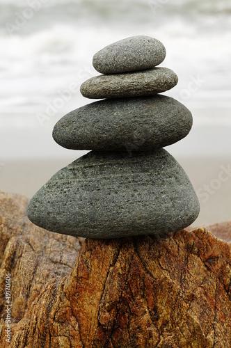 Doppelrollo mit Motiv - Zen Steinturm (von Fotoschlick)