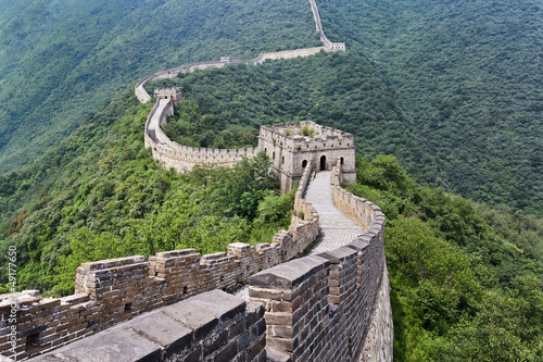 Montage in der Fensternische Chinesische Mauer Magnificent view on the Great Wall, Beijing, China