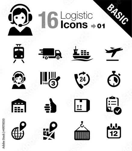 Basic - Logistic and Shipping icons Wallpaper Mural
