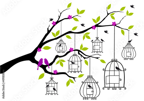 Poster Birds in cages tree with birds and open birdcages, vector