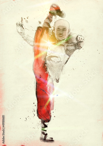Fotografering  Kung Fu (in the morning), Chinese martial art. (Hand drawing.)