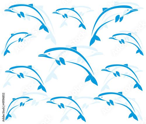 Poster Dolfijnen Wallpaper images of dolphins - vector