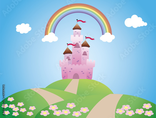 Poster Castle castle landscape, cartoon and vector illustration.