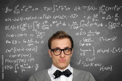 Man at the Blackboard with formulars Wallpaper Mural