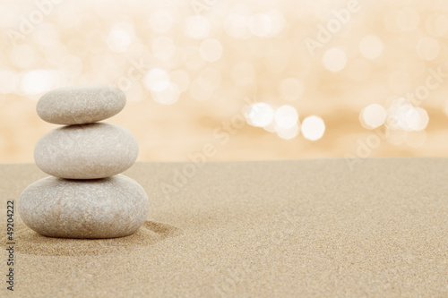 Poster Stenen in het Zand Balance zen stones in sand on white