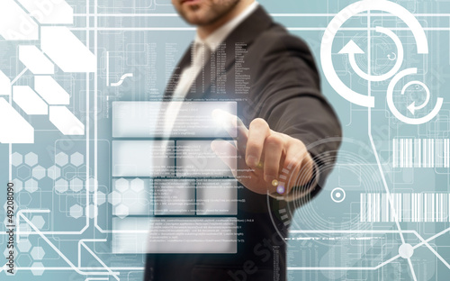 Fototapeta Doigt pressant un bouton sur un écran tactile  obraz na płótnie