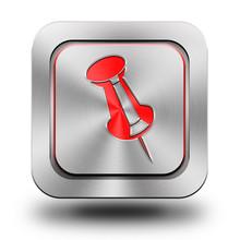 Push Pin, Thumbtack, Aluminum Glossy Icon, Button, Sign,