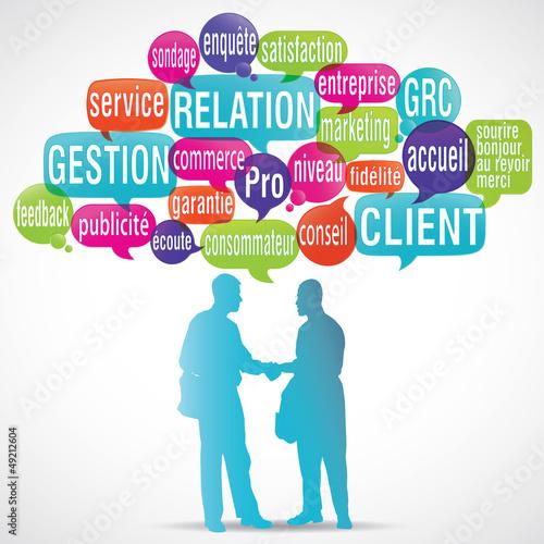 Fotografie, Tablou  nuage de mots bulles silhouette : gestion relation client
