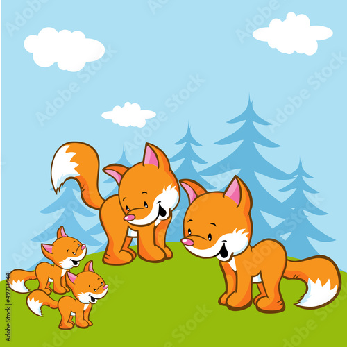 Aluminium Prints Forest animals fox family on meadow near the forest