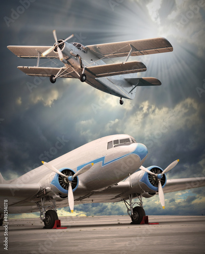 dwa-rocznika-samolotu-na-pasie-startowym-styl-retro-pi