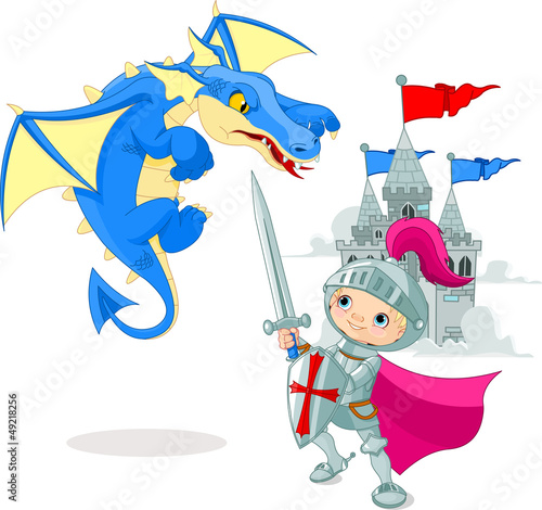 Poster de jardin Chevaliers Knight fighting a dragon