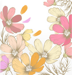 Naklejka Do sypialni Hand drawn pastel fashion background with flowers