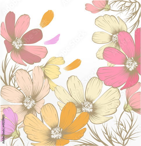 Hand drawn pastel fashion background with flowers