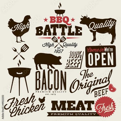 Papiers peints Affiche vintage Vintage BBQ Grill elements, Typographical Design