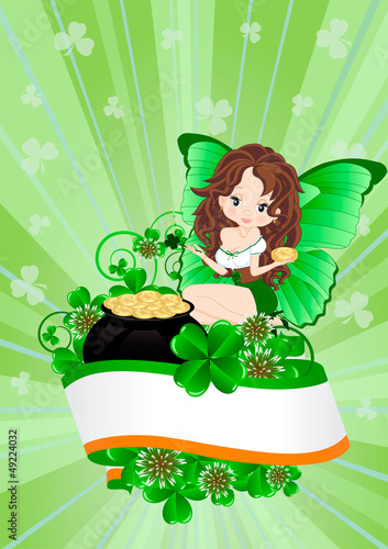 Deurstickers Feeën en elfen Greeting Card to St. Patrick's Day