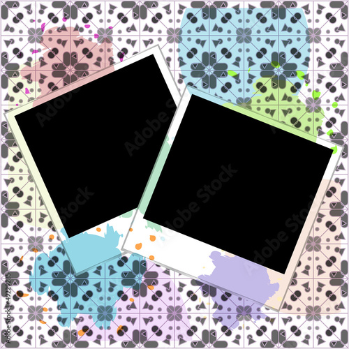 blank frames for photo on the grunge background with blots