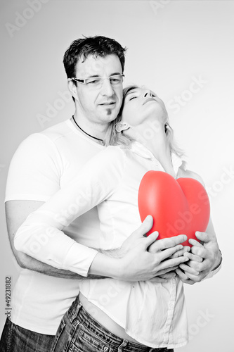 Poster Rouge, noir, blanc Couple in Black and White
