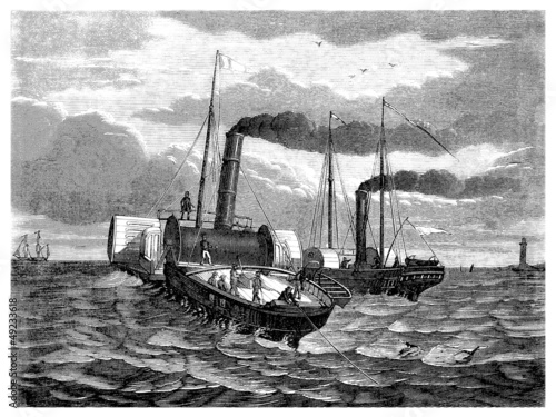Fotografie, Obraz  Laying Transatlantic Cable under Water - 19th century
