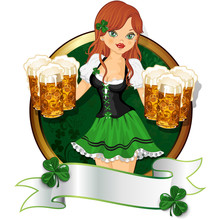 Girl With Beer St Patrick's Day