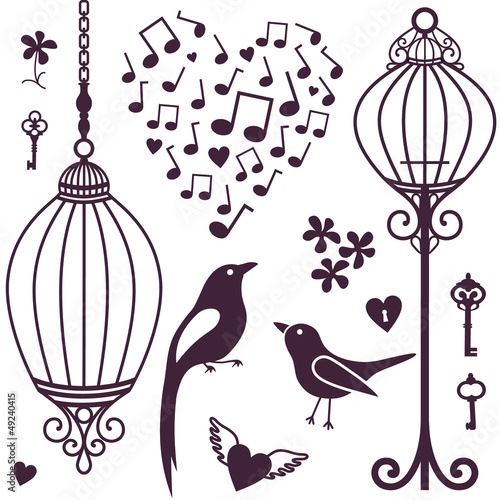 Recess Fitting Birds in cages wall stickers birds cages