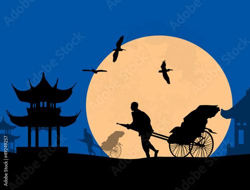 Fotografija  Chinese rickshaw in old Beijing