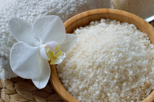 Close up of spa set with salt bath.