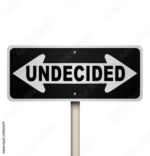 Undecided Word Two-Way Road Sign - Isolated Canvas Print