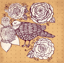 Fototapeta Vector hand drawn illustration with bird and flowers