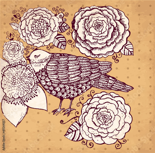 Vector hand drawn illustration with bird and flowers - 49264057