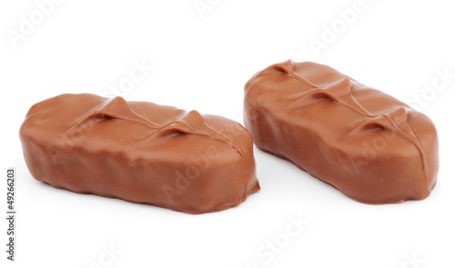 Photo Closeup of chocolate bar isolated on white