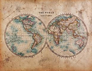 Old World Map in Hemispheres