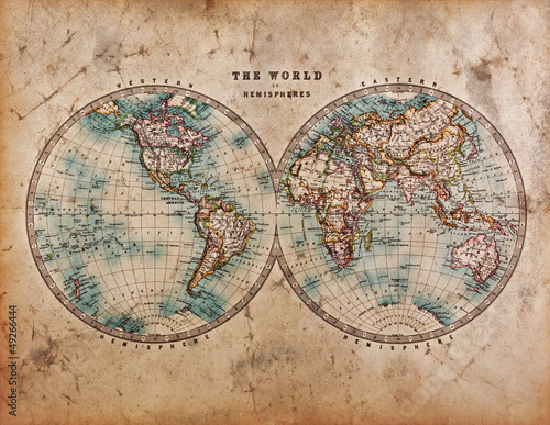 Foto auf Leinwand Weltkarte Old World Map in Hemispheres