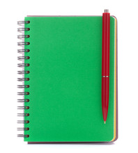 Green Cover Notebook With Red Pen