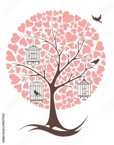 In de dag Vogels in kooien Tree with birds and hearts