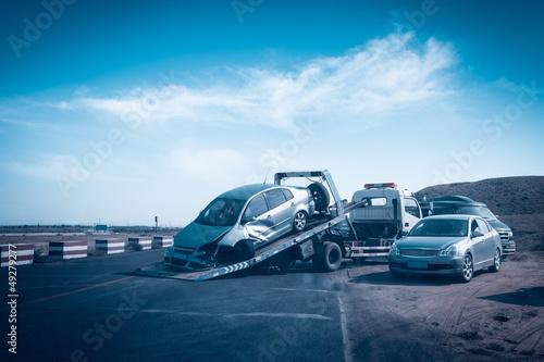 Fototapeta accident car on the tow truck obraz