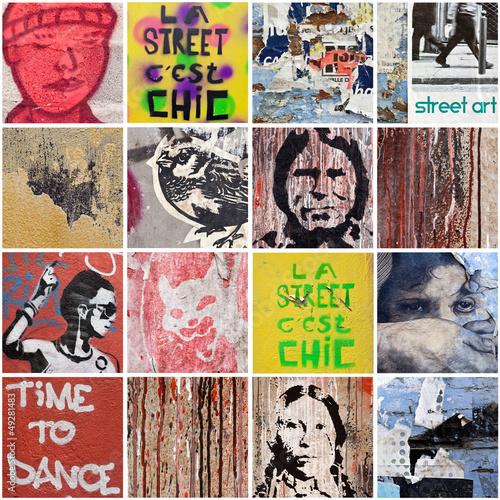 Deurstickers Graffiti collage Street Art 6
