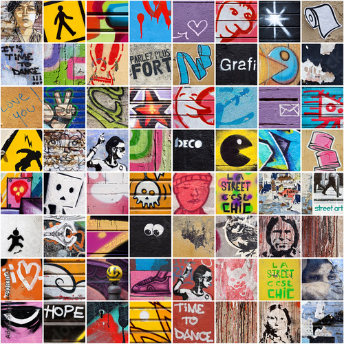 Deurstickers Graffiti collage Street Art 7