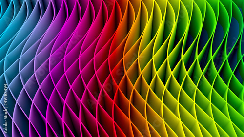 Fotobehang Fractal waves 3D Colorful Fractal Background