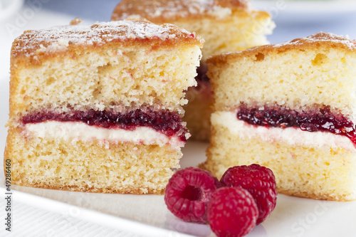 Fotografie, Tablou Spongecake and Raspberries