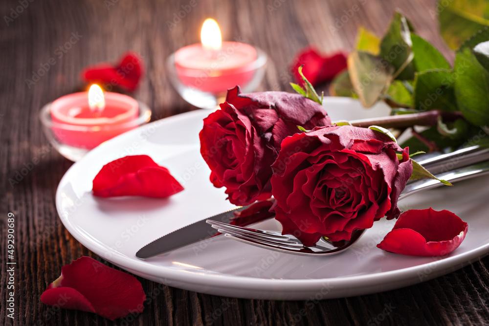 Fototapeta Tischgedeck zum Valentinstag
